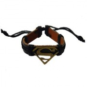 Men Style Handmade Superman Inspired Zinc Alloy Charm Bracelets With Lace Up Black Leather 3 D shape Bracelet For Me