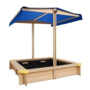 Keezi Wooden Outdoor Sand Box Set Sand Pit- Natural Wood [SAND-CANOPY-110]
