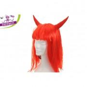 Parapiglia parrucca da diavolessa carnevale