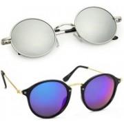 Elgator Cat-eye, Round Sunglasses(Blue, Silver)