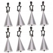 Merkloos 8x Tafelkleedgewichtjes zilveren kegels 5 cm
