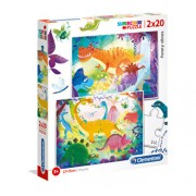 Puzzle Funny Dinos, 2x20 piese
