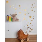 coolife Multi size gemengde matte Gouden Ster Muursticker, kinderkamer goud starry plafond Decal Vinyl Nursery decor - with moon