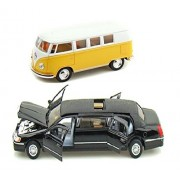Playking Kinsmart Combo of 1999 Lincoln Town Limousine Car and Miniature Scale Model 1962 Volkswagen Classical 5'' Die Cast Metal, Doors Openable and Pull Back Action Bus (Color May Vary)