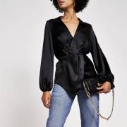 river island Womens Black long sleeve twist front shirt (10)