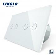 Intrerupator dublu + dublu cu touch Wireless Livolo din sticla, alb