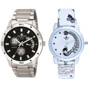Luxury Black Dial Metal Belt And White Peacock Feathers Couple Casual SCK Analogue Wrist Watch By Google Hub