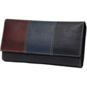 Inbrid Women Casual Black, Brown, Blue Genuine Leather Wallet(6 Card Slots)