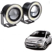 Auto Addict 3.5 High Power Led Projector Fog Light Cob with White Angel Eye Ring 15W Set of 2 For Fiat Punto Evo