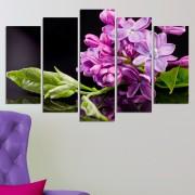 Декоративен панел за стена със свежи цветя в лилаво и зелено Vivid Home