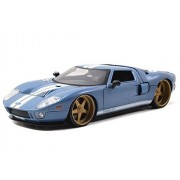 New 1:24 DISPLAY - Big Time Kustoms - BLUE 2005 FORD GT Diecast Model Car By Jada Toys