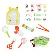 Toyvian 22Pcs Juguetes de Insectos Set Kits de Atrapa Insectos con Contenedores de Insectos Redes de Mariposa Lupas Trampas de Insectos Pinzas de Insectos Telescopio Pinzas Mochila para Niños