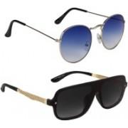 Marabous Aviator, Round Sunglasses(Black, Violet, Blue)