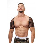 JJ Malibu Straps Mesh Short Sleeved Harness Black JJTOP016