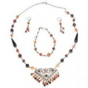Set bijuterii GANELLI - colier statement bratara cercei din pietre semipretioase Agate Eye