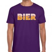 Bellatio Decorations Bier tekst t-shirt paars heren
