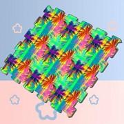 Lixhale Patrón sin Costuras Tropical Que representa baldosas de Espuma Rosa púrpura entrelazadas baldosas de Espuma para niños 8 Piezas 60 x 60 x 1,2 cm baldosas de Espuma