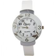 New Glory Circular Dial White Strap Design Glass Dial Watch For Women (WHITE PANDDI )
