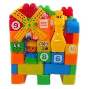 Large Building Blocks Play Learn Set, Learning Blocks for Kids with Colorful Cartoon Figures, Bag Packing, Multi Color (Set of 35 PCs), Best Gift Ever