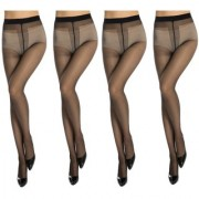 Neska Moda Women 4 Pair Nylon Black Panty Hose Stockings STK6 4Set