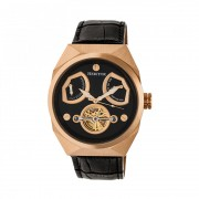 Heritor Automatic Oxford Semi-Skeleton Leather-Band Watch - Rose Gold/Black HERHR5505