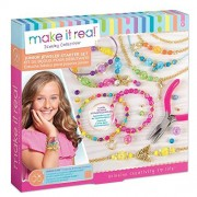 Make It Real Junior Jeweler Starter Set. DIY Tween Girls Jewelry Making Kit. Arts and Crafts Kit Guides Kids to Design and Create Beautiful Bracelets with Beads & Gold Charms