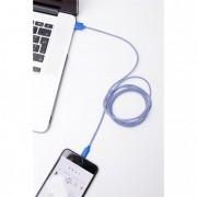 Kék-fehér textil borítású Apple kábel