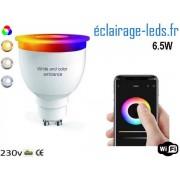 Ampoule LED GU10 Smart Wifi dimmable 6.5w Blanc & Couleurs ref dm-28