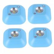 JIAWEN 4PCS con pilas LED luz de noche sensor de movimiento adhesivo dormitorio lampara - azul