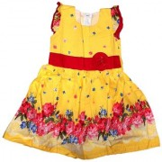 Knee-Long Yellow Colour Printed Cotton Frock for Baby Girls for 3-4 Year Child.
