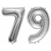 Stylewell Solid Silver Color 2 Digit Number (79) 3d Foil Balloon for Birthday Celebration Anniversary Parties