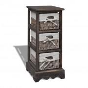 vidaXL Кафяв дървен стелаж с 3 плетени кошници за съхранение