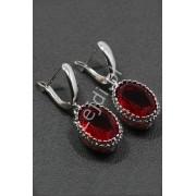 Lejdi Srebrne kolczyki z owalnym kamieniem naturalnym czerwony rodolit- granat