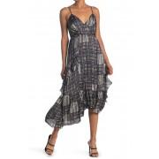 19 Cooper Printed Asymmetrical Hem Midi Dress BLKWHITE