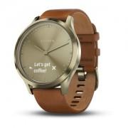 Watch, Garmin vivomove™ HR Premium S/M, За фитнес, здраве и мултиспорт, Gold Tone със светло кафява кожен (010-01850-25)