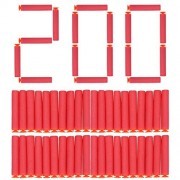 200pcs Refill Darts Bullets 7.2cm Soft Mega Spong EVA Foam for Nerf N-Strike Elite Series Blasters Kid Toy Gun Set (Red) by Vbestlife