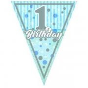 Zászló girland 1st Birthday, baba kék, 3,2 méter