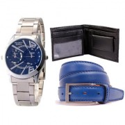 Jack Klein Combo of Round Dial Metal Strap Stylish Analog Wrist Watch With Black Wallet And Blue Belt