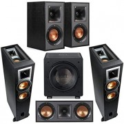"Klipsch 2 Pack R-26FA Dolby Atmos Speaker - Bundle with R-41M Bookshelf Home Speakers, R-52C Center Channel Home Speaker, Rel Acoustics HT/1205 12"" 500 Watt Home Theater Subwoofer"