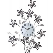 Luxusní kovové skleněné designové květinové obrovské hodiny JVD HJ95