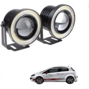 Auto Addict 3.5 High Power Led Projector Fog Light Cob with White Angel Eye Ring 15W Set of 2 For Fiat Abarth