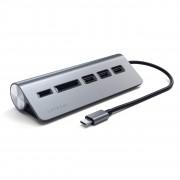 Satechi Redukce / adaptér - Satechi, USB-C to USB 3.0 Hub & Card Reader Gray