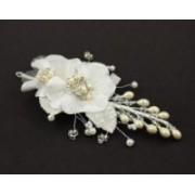 Svatební bižuterie do vlasů perličky dvě květiny 5468-2 5468-2