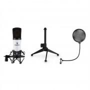 Auna MIC-920B, USB микрофонен комплект V1 кондензаторен микрофон, стойка за микрофон, попо филтър, бял (34264+31659+11536)
