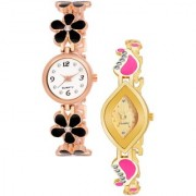 Varni Retail Blck Flower Belt And Gold Oval Rectangle Dial Chai Watch 2 Combo Watch For Girls