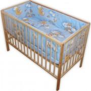 Lenjerie patut bebe cu 5 piese ursuletu somnoros albastru