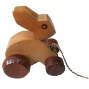 Khadi Eco Basket Wooden Pull Along Rabbit Toy