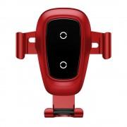 Baseus fém gravitációs vezeték nélküli töltő Autós tartó Phone Bracket Air Vent Holder Qi töltő piros (WXYL-B09)