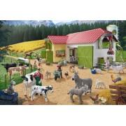 Puzzle Schmidt - O zi la ferma, 40 piese, include 2 figurine Schleich (56189)
