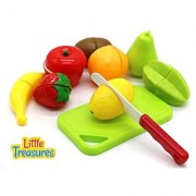 Little Treasures Cutting Fruit Set Chopping Board and Toy Fruit Features Two Piece Pretend Cut in Half Fruits & Cutting Board with Pretend Chopping Knife